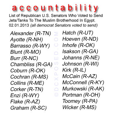 GOP voted to arm muslim brotherhood