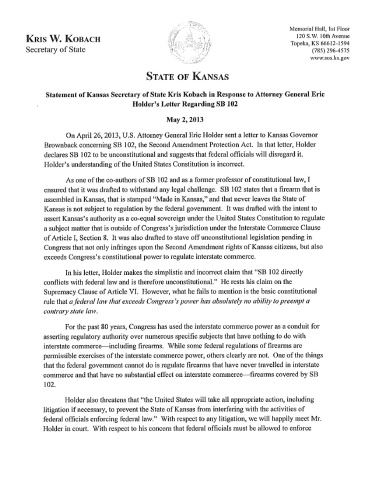 Page 1 of 2 of Kansas' AG's reply to a despotic DoJ