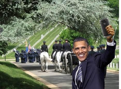 Obama selfie - Vet funeral 2