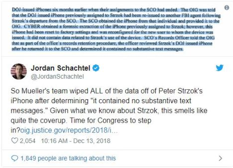 Mueller's Team wiped Strozk's phone