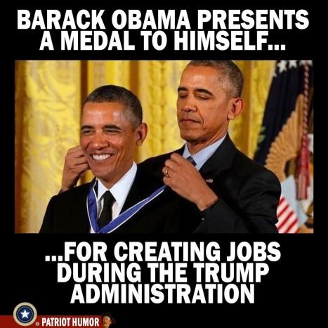 Obama presents medal to himself